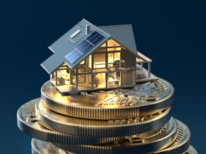 Inside delighted model of a house on euro coins